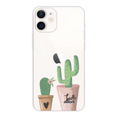 Coque iPhone 12 mini souple transparente Cactus Love Motif Ecriture Tendance Evetane