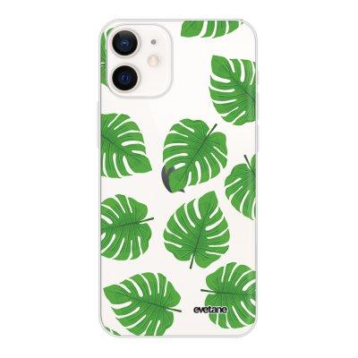 Coque iPhone 12 mini souple transparente Feuilles palmiers Motif Ecriture Tendance Evetane