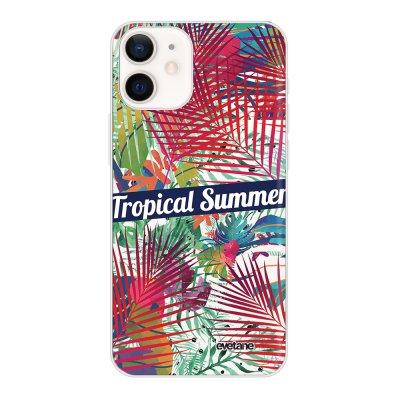 Coque iPhone 12 mini souple transparente Tropical Summer Motif Ecriture Tendance Evetane