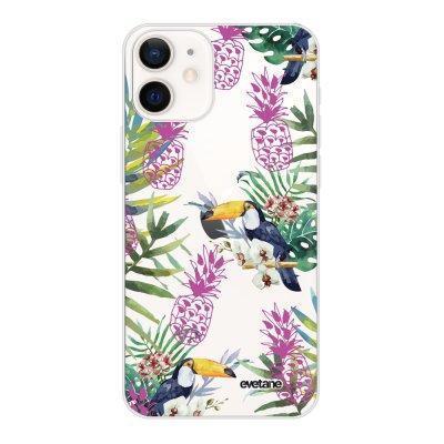 Coque iPhone 12 mini souple transparente Jungle Tropicale Motif Ecriture Tendance Evetane