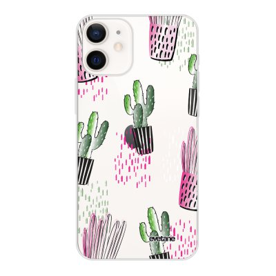 Coque iPhone 12 mini souple transparente Cactus motifs Motif Ecriture Tendance Evetane