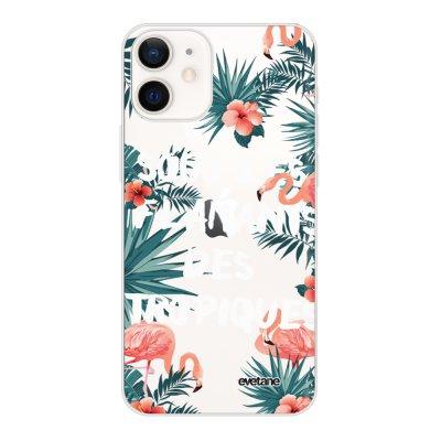 Coque iPhone 12 mini souple transparente Flamants des tropiques Motif Ecriture Tendance Evetane