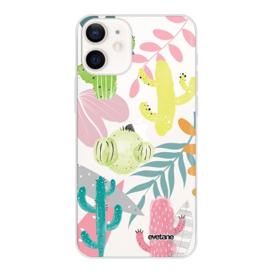Coque iPhone 12 mini souple transparente Cactus et Compagnie Motif Ecriture Tendance Evetane