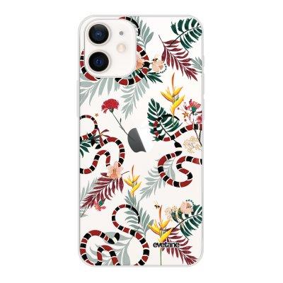 Coque iPhone 12 mini souple transparente Serpents et fleurs Motif Ecriture Tendance Evetane