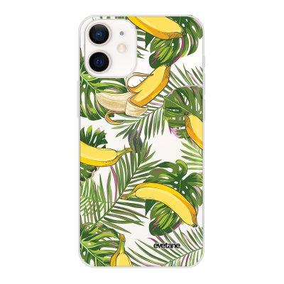 Coque iPhone 12 mini souple transparente Bananes Tropicales Motif Ecriture Tendance Evetane