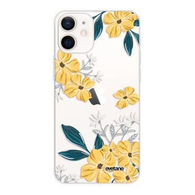 Coque iPhone 12 mini souple transparente Fleurs jaunes Motif Ecriture Tendance Evetane