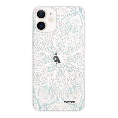 Coque iPhone 12 mini souple transparente Mandala Turquoise Motif Ecriture Tendance Evetane