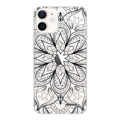 Coque iPhone 12 mini souple transparente Mandala noir Motif Ecriture Tendance Evetane
