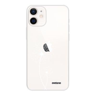 Coque iPhone 12 mini souple transparente Pissenlit blanc Motif Ecriture Tendance Evetane