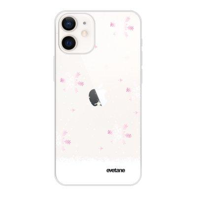 Coque iPhone 12 mini souple transparente Chute de flocons Motif Ecriture Tendance Evetane