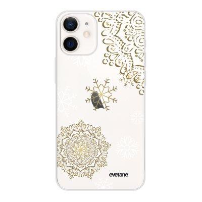Coque iPhone 12 mini souple transparente Flocon mandala Motif Ecriture Tendance Evetane