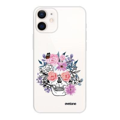 Coque iPhone 12 mini souple transparente Crâne floral Motif Ecriture Tendance Evetane