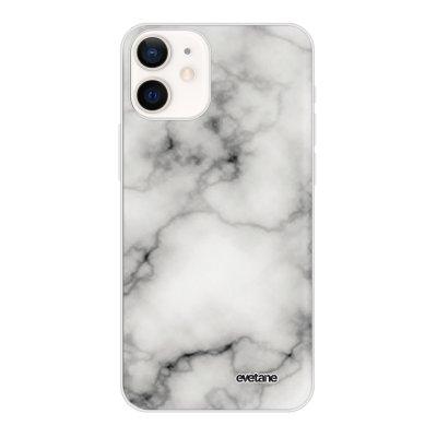 Coque iPhone 12 mini souple transparente Marbre blanc Motif Ecriture Tendance Evetane
