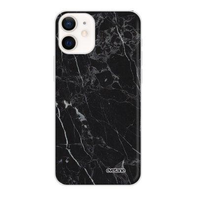 Coque iPhone 12 mini souple transparente Marbre noir Motif Ecriture Tendance Evetane