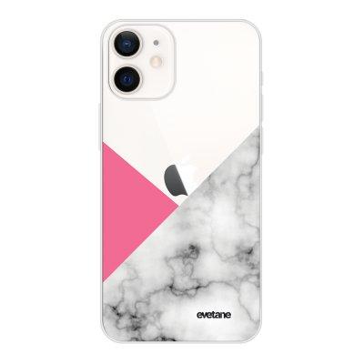 Coque iPhone 12 mini souple transparente Marbre rose et gris Motif Ecriture Tendance Evetane