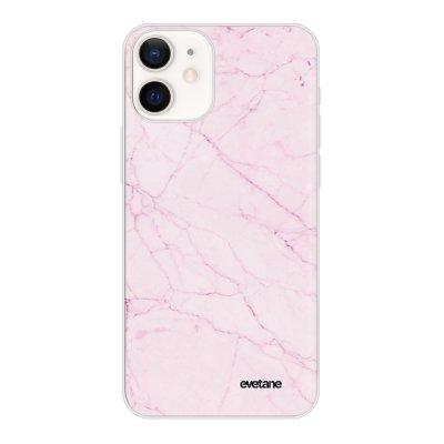 Coque iPhone 12 mini souple transparente Marbre rose Motif Ecriture Tendance Evetane
