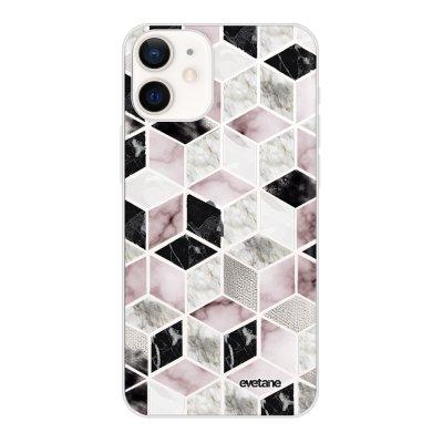 Coque iPhone 12 mini souple transparente Cubes Géométriques Motif Ecriture Tendance Evetane
