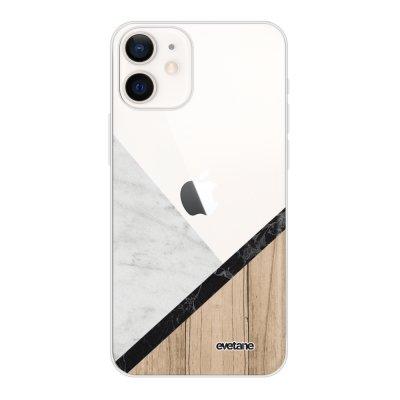 Coque iPhone 12 mini souple transparente Marbre et Bois Graphique Motif Ecriture Tendance Evetane