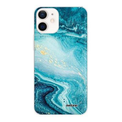 Coque iPhone 12 mini souple transparente Bleu Nacré Marbre Motif Ecriture Tendance Evetane