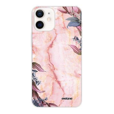 Coque iPhone 12 mini souple transparente Marbre Fleurs Motif Ecriture Tendance Evetane