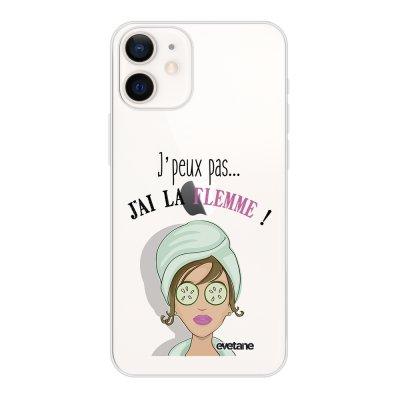 Coque iPhone 12 mini souple transparente J'ai La Flemme Motif Ecriture Tendance Evetane