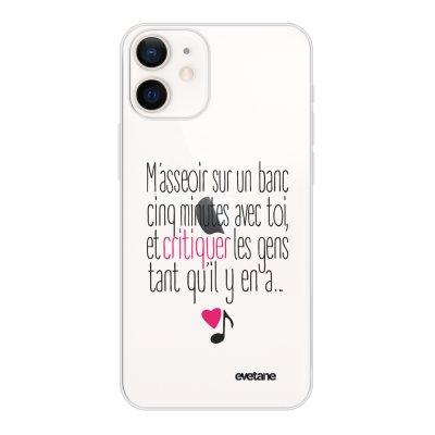 Coque iPhone 12 mini souple transparente M'asseoir sur un banc Motif Ecriture Tendance Evetane