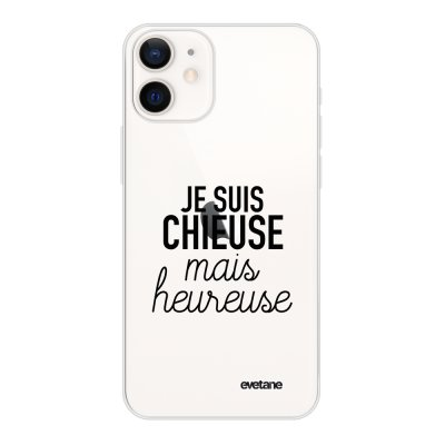 Coque iPhone 12 mini souple transparente Chieuse Mais Heureuse Motif Ecriture Tendance Evetane