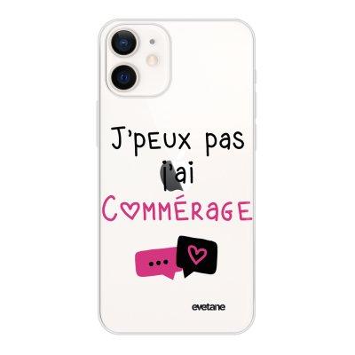 Coque iPhone 12 mini souple transparente Commérages Motif Ecriture Tendance Evetane