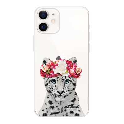 Coque iPhone 12 mini souple transparente Leopard Couronne Motif Ecriture Tendance Evetane