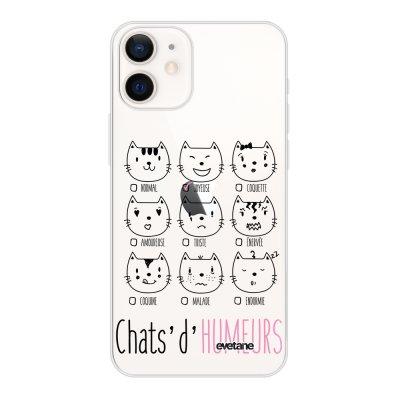 Coque iPhone 12 mini souple transparente Chats d'humeurs Motif Ecriture Tendance Evetane