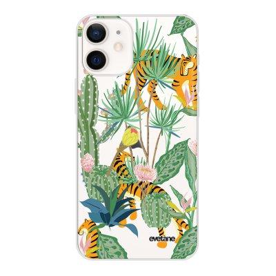 Coque iPhone 12 mini souple transparente Tigres et Cactus Motif Ecriture Tendance Evetane