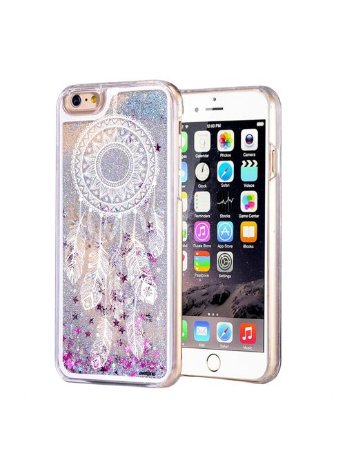 coque silicone transparente attrape reves blanc avec paillettes pour iphone 6 6s