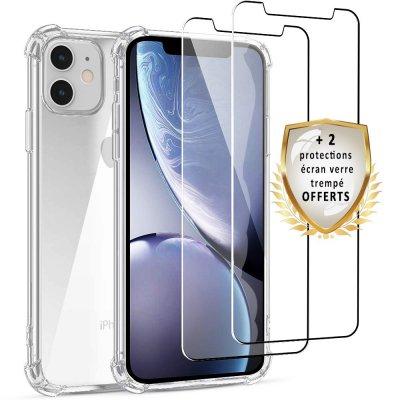 Coque iPhone 11 Antichoc Silicone  + 2 verres trempés.