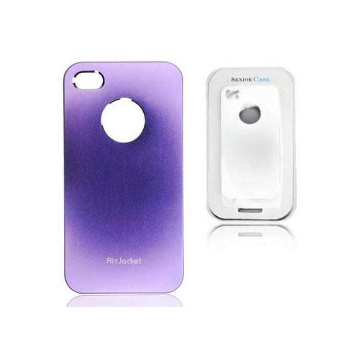 Coque hublot Air Jacket Metal Case violet argenté pour iPhone 4 / 4S