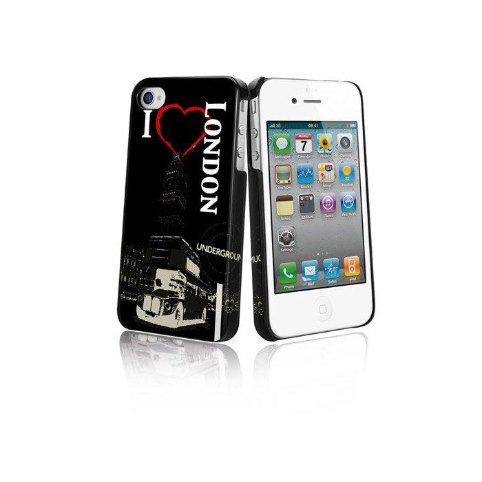 Coque i love London film protecteur inclus Muvit art collection iphone 4 et 4S
