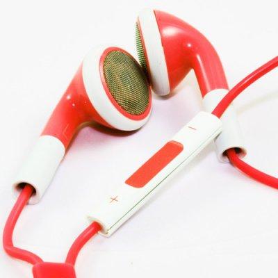 Ecouteurs kit pieton avec controle volume rouge blanc mini jack