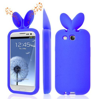 Housse silicone bleue rabbit pour Samsung Galaxy S3