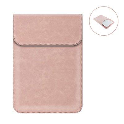 Housse de protection aspect cuir pour tablette, ordinateur compatible 13,3 à 15,4 pouces Rose Gold