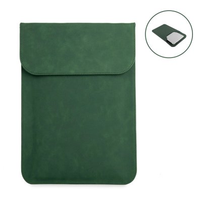 Housse de protection aspect cuir pour tablette, ordinateur compatible de 13,3 à 15,4 pouces Kaki