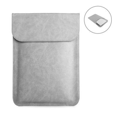 Housse de protection aspect cuir pour tablette, ordinateur compatible de 13,3 à 15,4 pouces Argent