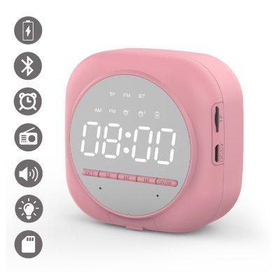 Réveil et Haut Parleur Bluetooth miroir avec support téléphone et affichage LED Rose