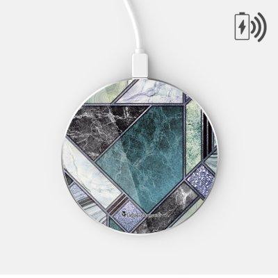 Chargeur Induction contour argent blanc Marbre Bleu Vert La Coque Francaise
