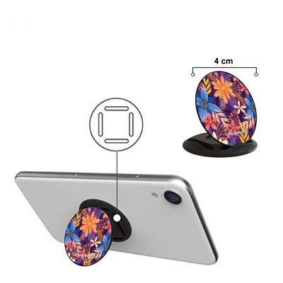 Poignée et support universel de téléphone Fleurs violettes et oranges La Coque Francaise