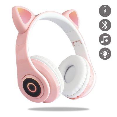 Casque en forme oreille de chats Bluetooth avec Lumière LED rose