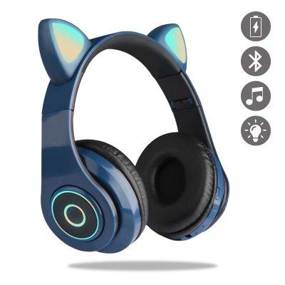 Casque en forme oreille de chats  Bluetooth avec Lumière LED Bleu Marine