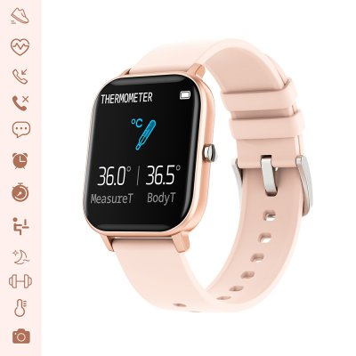 Montre connectée IP67 avec mesure de l'activité sportive, thermomètre,podomètre Rose gold et bracelet noir silicone