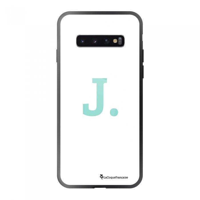 Coque Samsung Galaxy S10 soft touch noir effet glossy noir Initiale J Design La Coque Francaise