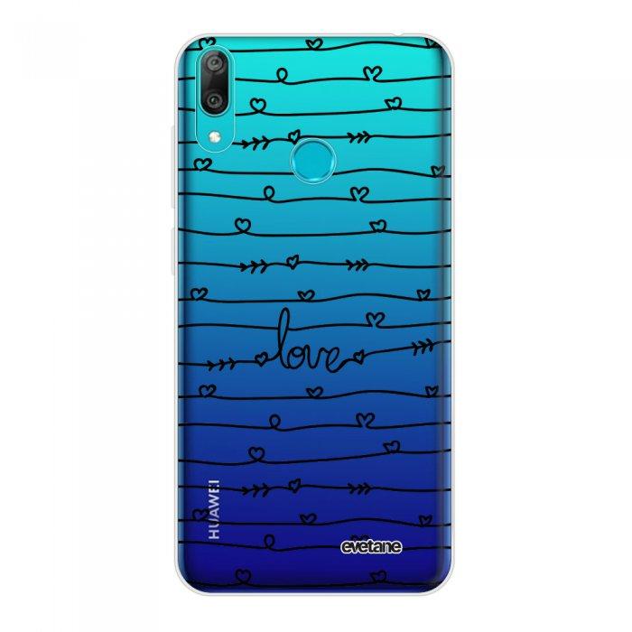 Coque Huawei Y7 2019 360 intégrale transparente Love en lignes Tendance Evetane.