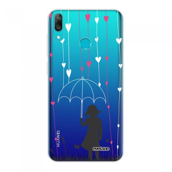Coque Huawei Y7 2019 360 intégrale transparente Pluie de coeurs Tendance Evetane.
