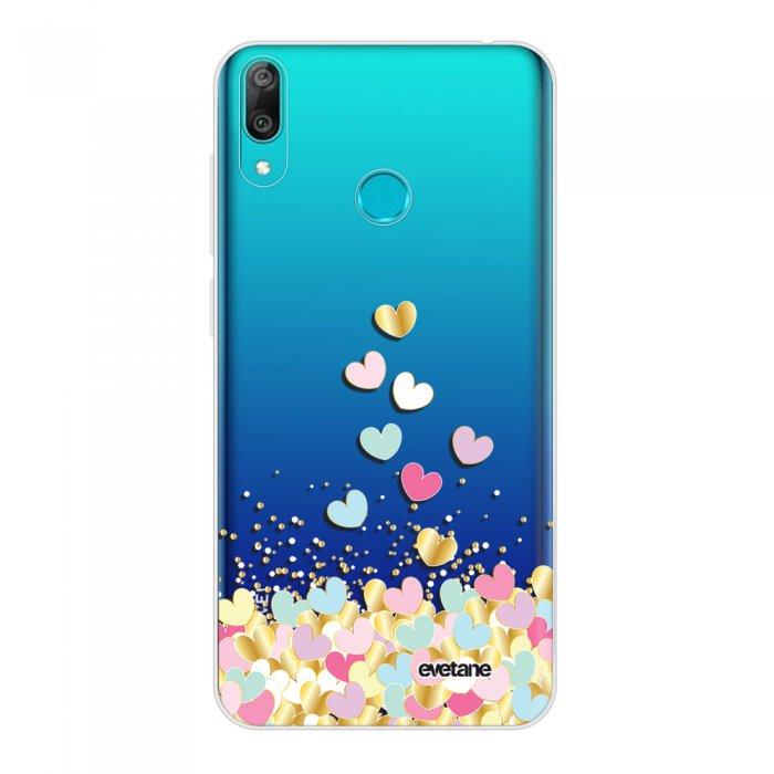 Coque Huawei Y7 2019 360 intégrale transparente Coeurs Pastels Tendance Evetane.
